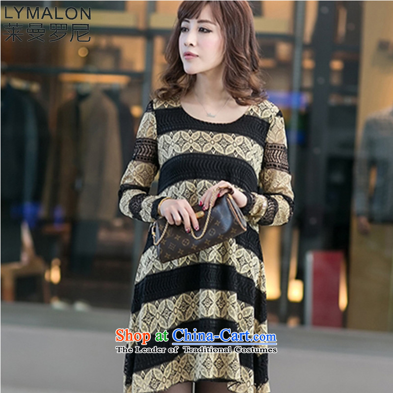 The lymalon Lehmann 2015 new fall lace larger women's dresses custom lace relaxd dress 2013 Gold聽XL