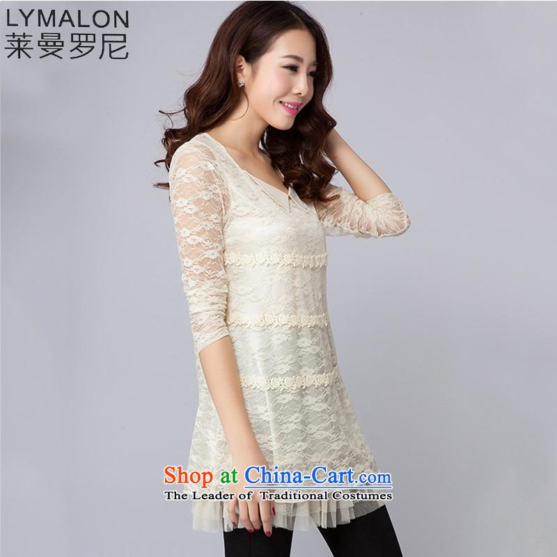 Mr Lehmann lymalon autumn 2015 new stylish lace dresses female sweet Sau San Solid Color dresses 2020 beigeL