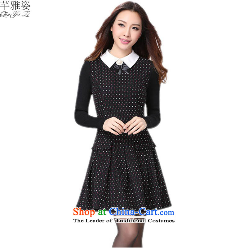 Payment on delivery to xl Korean OL temperament saika dresses pearl lapel long-sleeved knitting spell color autumn Women's clothes skirt thick mm thin black skirt graphics suit 3XL approximately 150 - 160131 catty