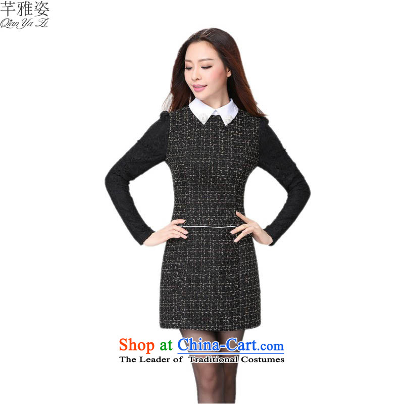 C.o.d. Korean lapel OL commuter temperament Sau San dresses thick Mei plus hypertrophy code with long-sleeved forming the autumn skirt career video thin short skirts thick black燲L燼pproximately 115-125 mm catty