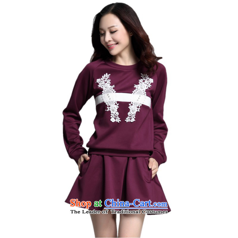 C.o.d. thick sister xl two-piece set with new fall short skirts replacing sweater stylish lace spell color T-shirt body fat skirts leisure mm women燼bout 155-170 3XL purple catty