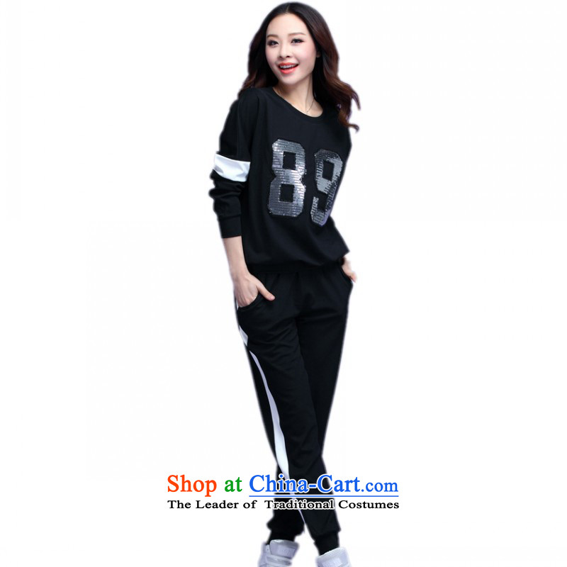 Payment on delivery to fall xl load new leisure wears loose_ Video thin two kits homewear sport trousers with a T-shirt thick mm sweater Kit Black聽XL聽approximately 130-145 catty