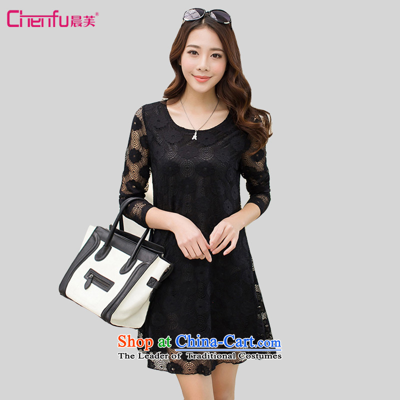Morning to fall 2015 new Korean lace larger women's dresses sweet round-neck collar engraving lace stitching soft and beautiful A skirt swinging under cascading skirt black 4XL( suitable for coal) 150 - 160131