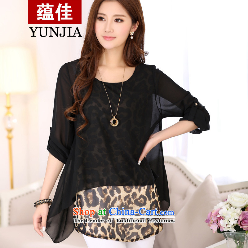 To better spring 2015 new fat mm larger female high-end leopard larger leave two long-sleeved shirt, forming the chiffon shirt black leopard燲L爏uitable for paras. 135-145 catty