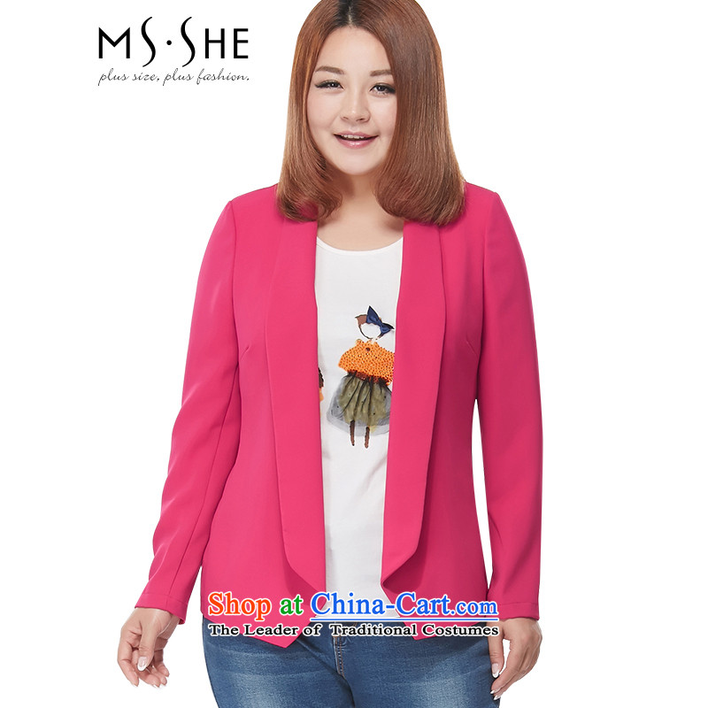 Large msshe women 2015 new MM thick autumn replacing chiffon suit thick sister Cardigan Coat 2896 long-sleeved red�L