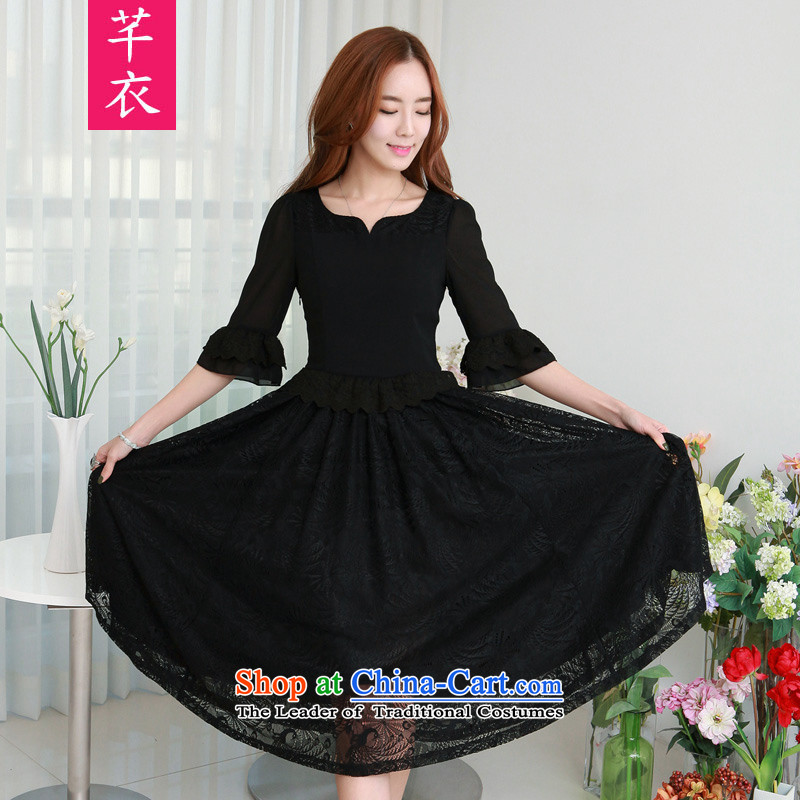 In the spring of 2015, the Korean version of the new retro lace 7 Cuff Phoenix lace stitching chiffon dresses thick mm xl women in large black long skirt to large 2XL catty Paras. 135-145