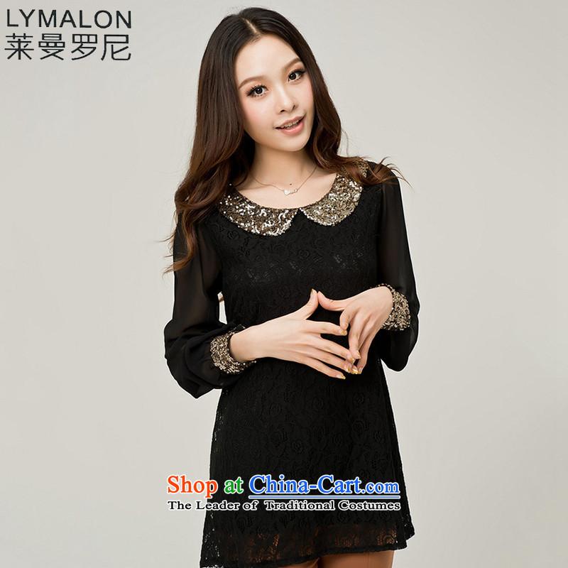 The lymalon lehmann autumn 2015 new product version of large Korean women's code Sleek and versatile long-sleeved shirt Phnom Penh lace shirt 938 BlackM