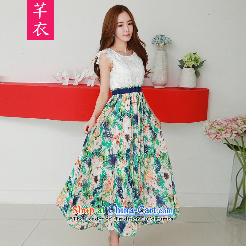 The new summer 2015 XL women's irrepressible lace stitching large chiffon gliding stamp long skirt thick mm bohemian style resort dresses green 140-155 2XL to large coal