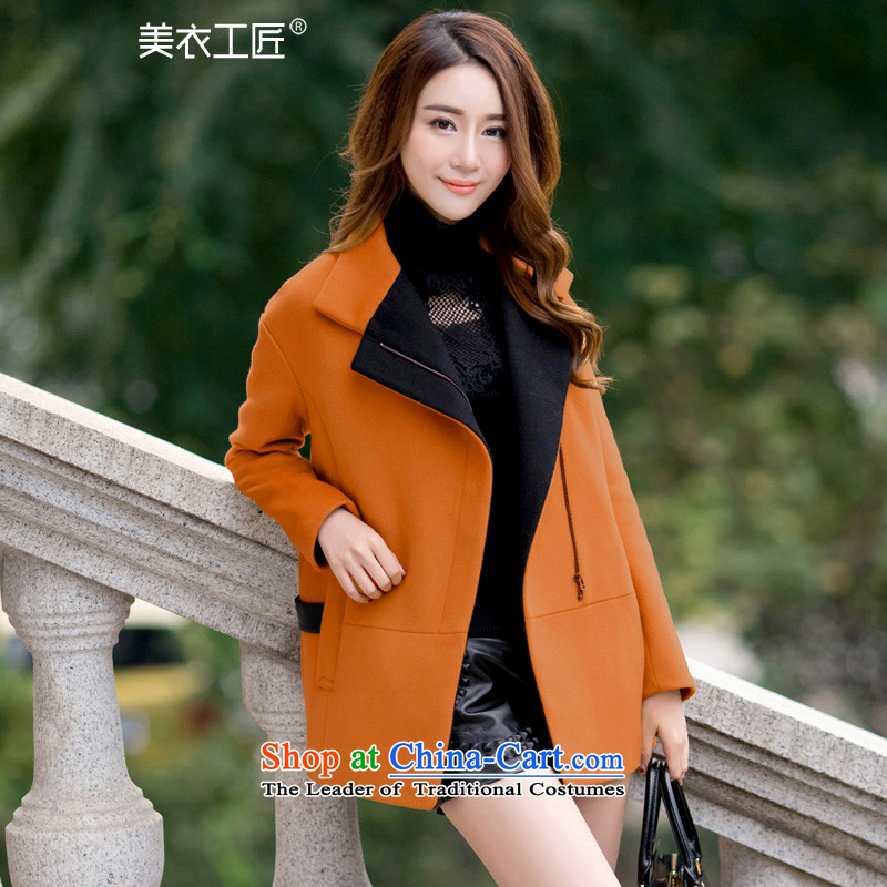 Trades and Crafts Korean American Yi gross shortage of female jacket?�15 Fall_Winter Collections new han bum larger female thick wool a wool coat and color燲XL
