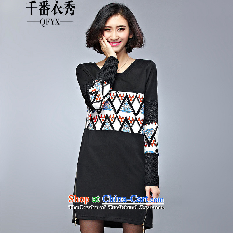 Double Chin Yi xiu qiu larger dresses thick mm package and geometric stamp air layer round-neck collar hedging long sweater 603 Black XXL