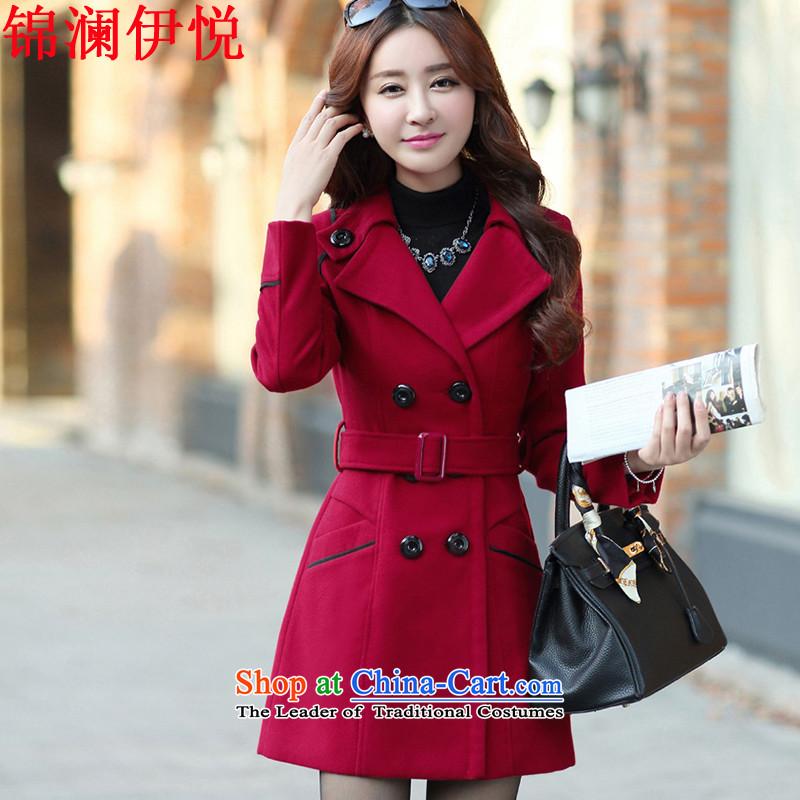 The world of Kam Yuet-dress jacket coat Ms. gross? Korean Sau San video thin wine red OL commuter double-wool, Windbreaker Connie children fall and winter8858, wine redXL