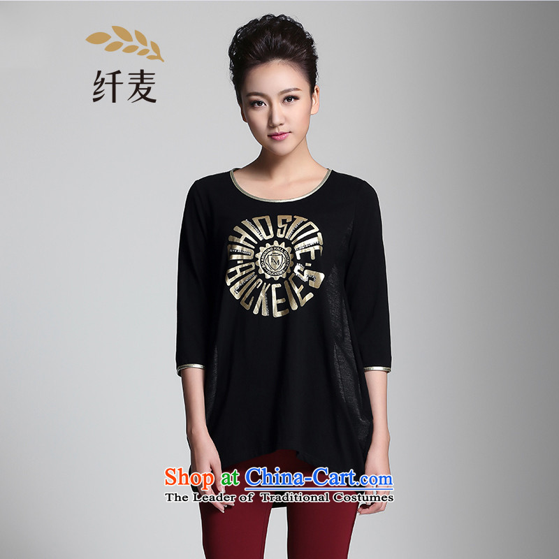 The former Yugoslavia Migdal Code women 2015 Spring New mm thick Korean relaxd stylish simplicity T-shirt 951101941 black�L