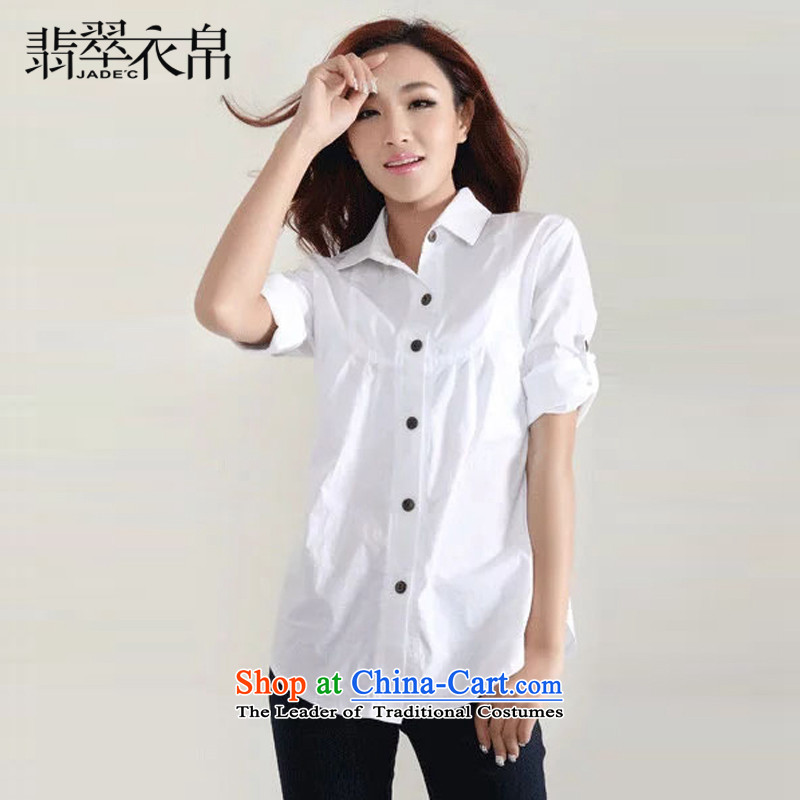 Jade Spring 2015 9Yi New Korean thick clothes in relaxd mm long wild xl female white shirt 3XL