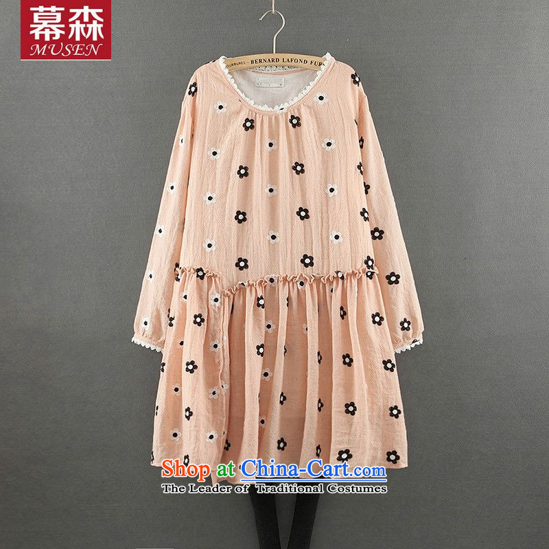 The  spring and summer of 2015, Korean version of large numbers of ladies sweet fresh floral relaxd small dresses long-sleeved neck long shirts pink are code