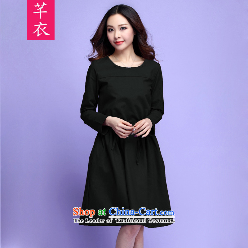 In the spring of 2015, replacing the new xl female retro cotton loose Foutune of long-sleeved dresses thick mm leisure lady wild temperament goddess skirt black large 3XL 160-175 catty