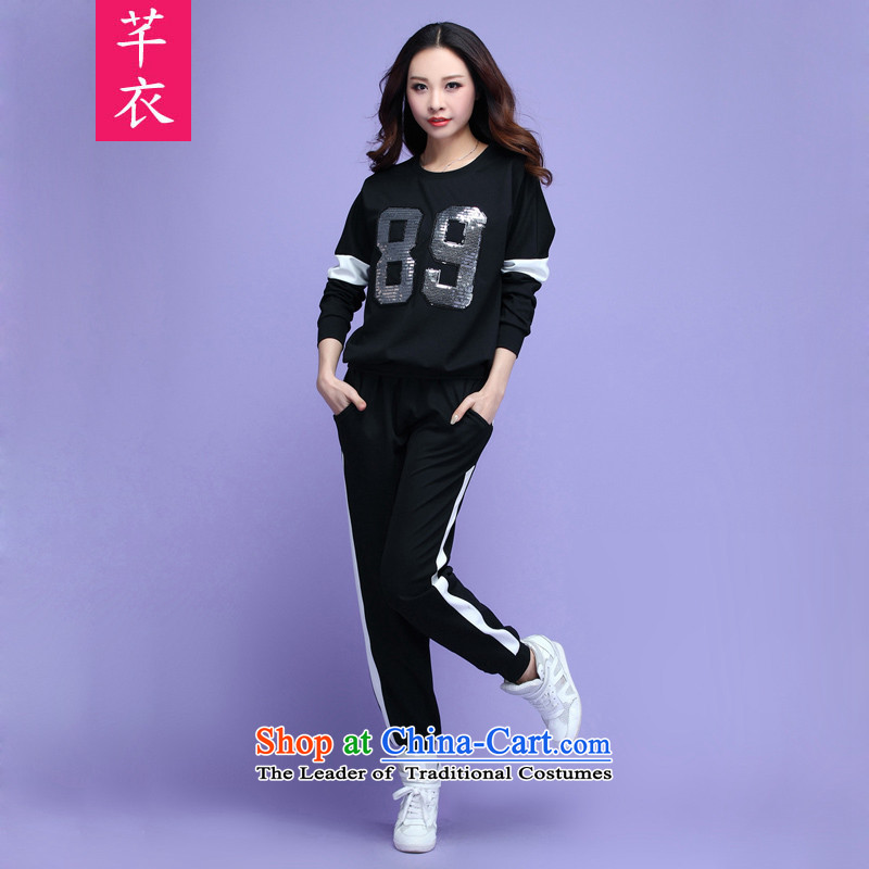 Load New autumn 2015 XL Western liberal video thin bat sleeves knitting leisure sports wear thick letter mm long-sleeve sweater pants black T-shirt�5-180 4XL catty