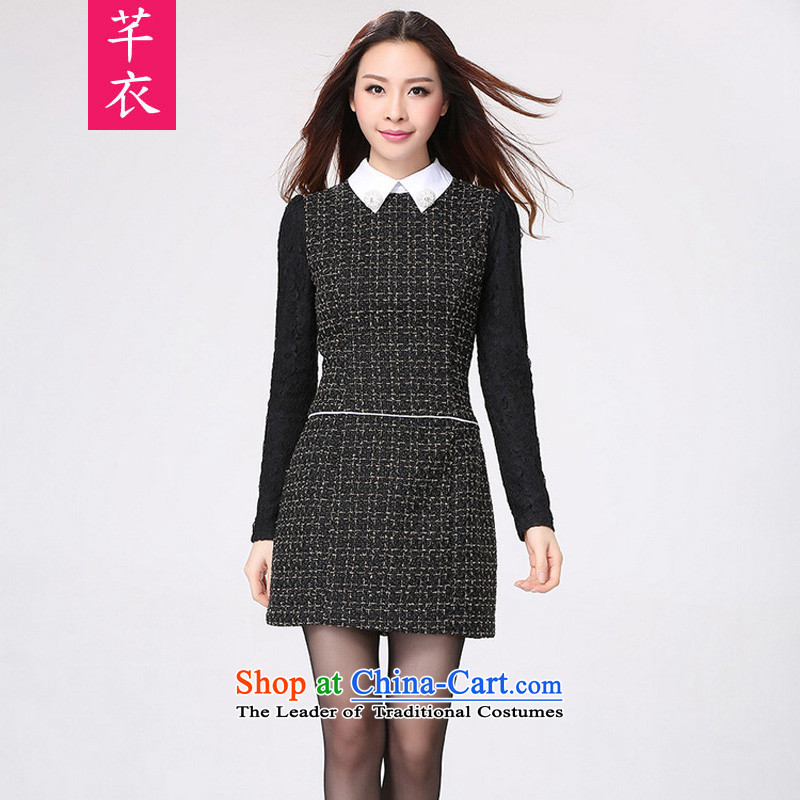 To increase the number of women in the autumn of 2015, replacing replacing the new Korean version thin long-sleeved smaller flip collar thick MM Foutune of Sau San video thin urban OL skirt black large 4XL 155-170 catty