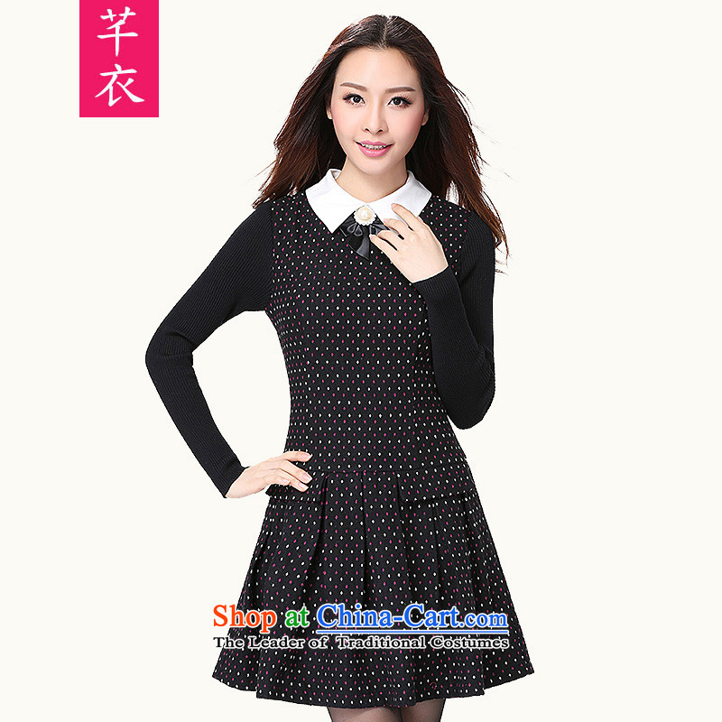 New for women 2015 new to xl long-sleeved small lapel thin ladies graphics Sau San Fat mm college culture skirt quality serene wave point dresses black flower to large 2XL 130-145 catty