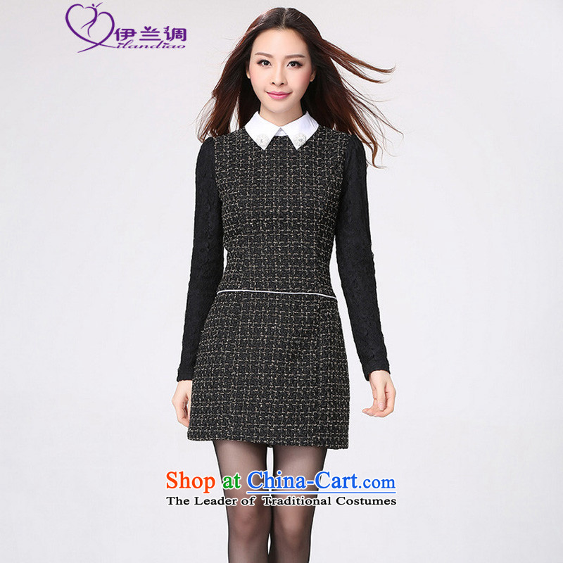 Load New autumn 2015 to increase the number of women with Korean long-sleeved Sau San video thin dresses thick mm elegant lapel small urban OL lady black skirt can reference the chest or advice option customer service