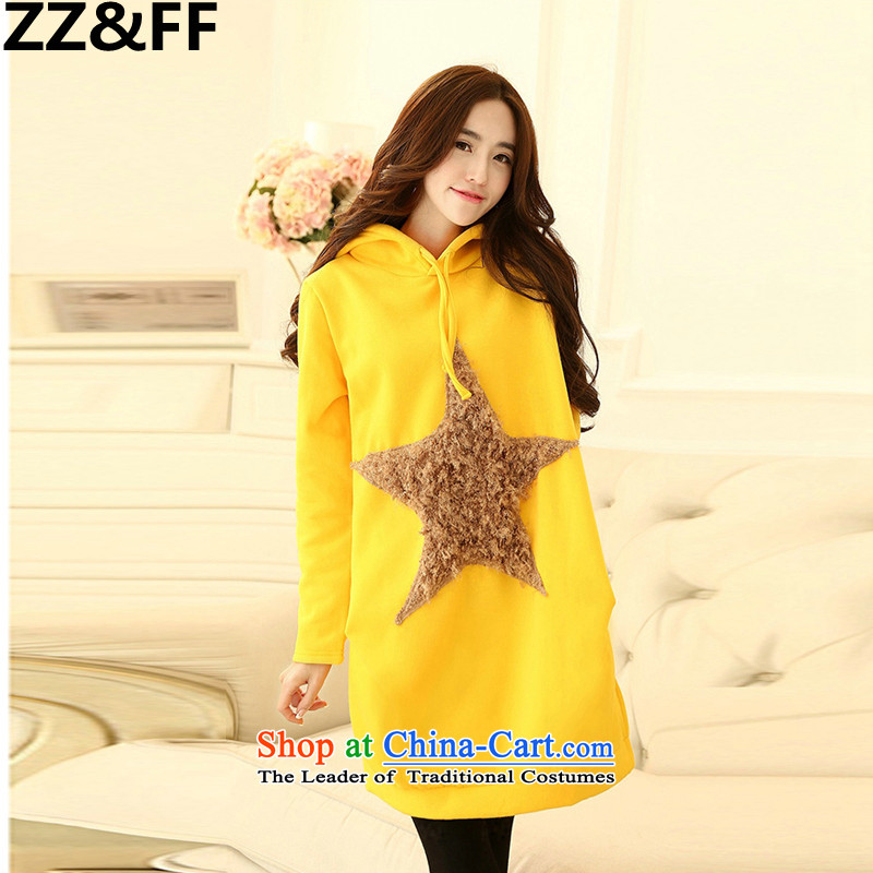 Install the latest Autumn 2015 Zz_ff_ to increase the number of female members in long jacket Korean modern liberal pregnant women do lint-free jacket yellow燲XL