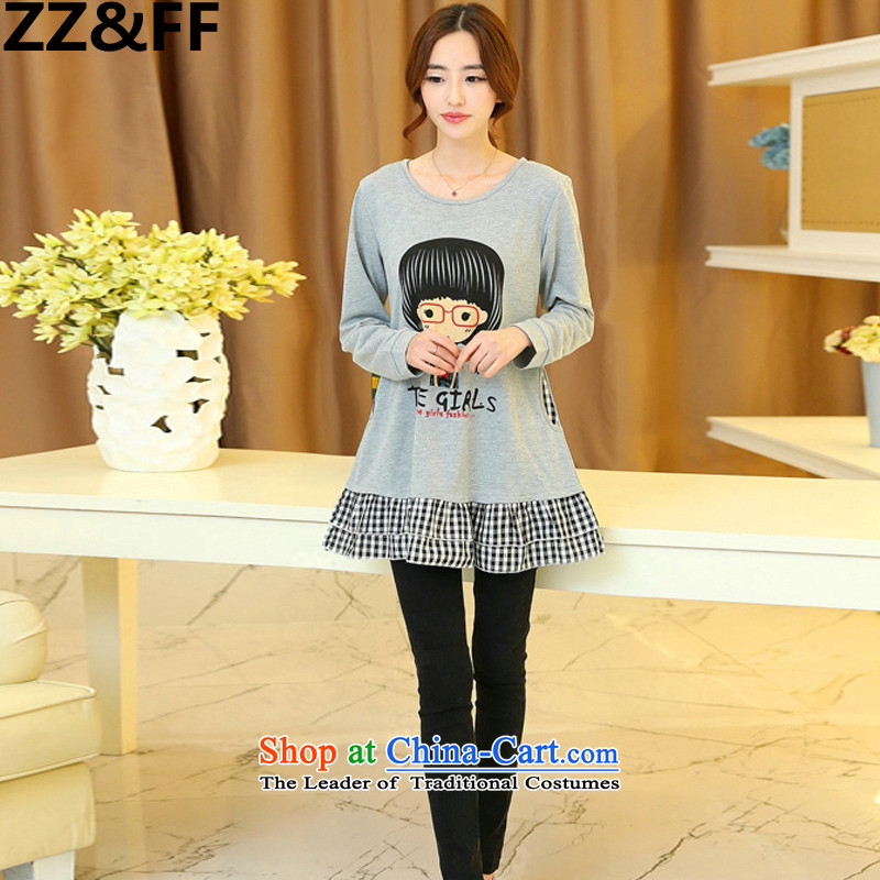 Install the latest Autumn 2015 Zz&ff) to increase women's code 200 catties thick mm long-sleeved T-shirt, forming the Netherlands relaxd cartoon transfer large light gray T-shirtXL,ZZ&FF,,, shopping on the Internet