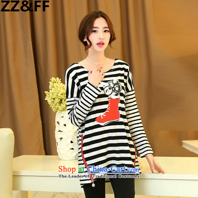 Install the latest Autumn 2015 Zz_ff_ to increase the number of female 200mm thick banding catty long-sleeved T-shirt, forming the relaxd clothes stamp shirt black燣