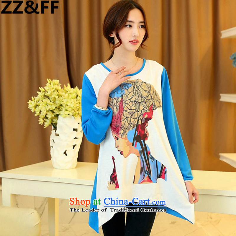 Install the latest Autumn 2015 Zz_ff_ to increase women's code 200 catties thick mm long-sleeved T-shirt, forming the Netherlands relaxd beauty avatar shirt blue燲L