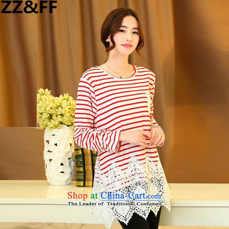 Install the latest Autumn 2015 Zz_ff_ to increase the number of female 200mm thick banding catty long-sleeved T-shirt, forming the Netherlands red t-shirt relaxd燲L