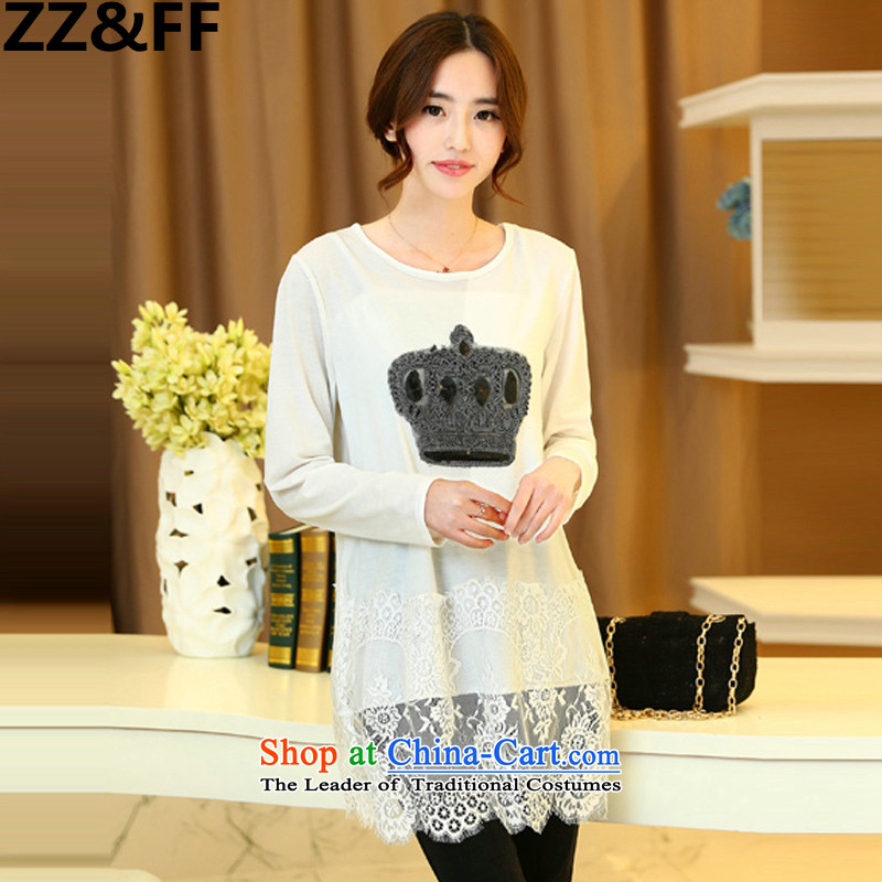 Install the latest Autumn 2015 Zz_ff_ to increase women's burden of code 200 mm thick lace long-sleeved T-shirt, forming the relaxd clothes shirt white聽L