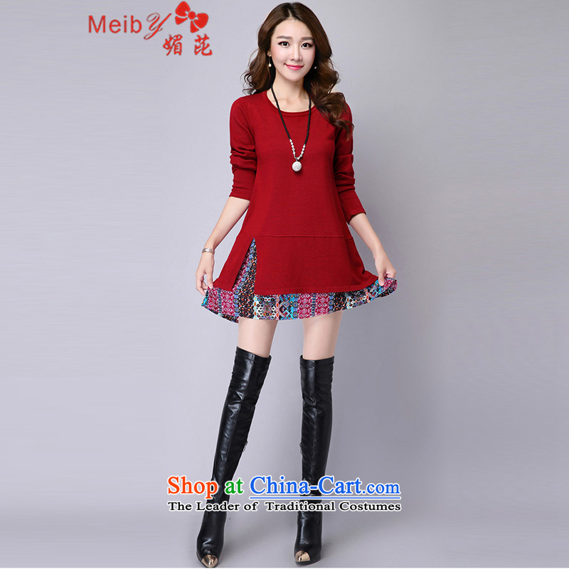 Maximum number of women to increase the load on the fall of the new Korean mm in length_ female stitching Knitted Shirt loose woman dresses 5088 wine red - XXL