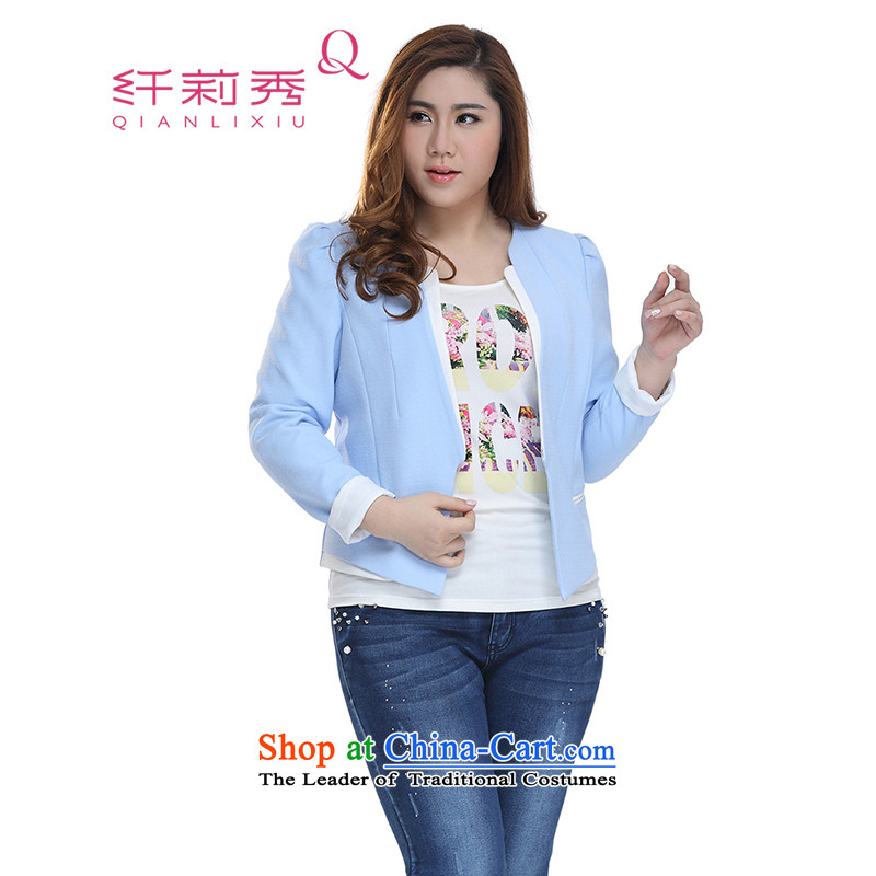 The former Yugoslavia Li Sau-Spring 2015 new larger female Korean OL Princess cuff stitching long-sleeved jacket Q7157�L blue