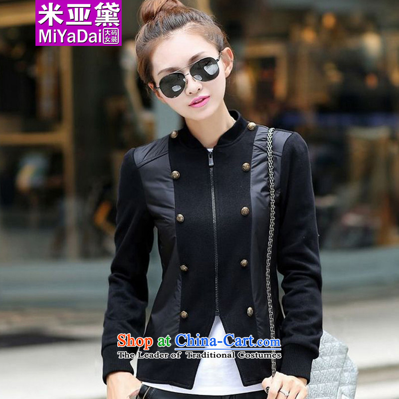 The Doi larger women during the spring and autumn jacket thick sister video thin Korean large Sau San Fat mm knitwear cardigan small jacket to 200 catties black聽4XL