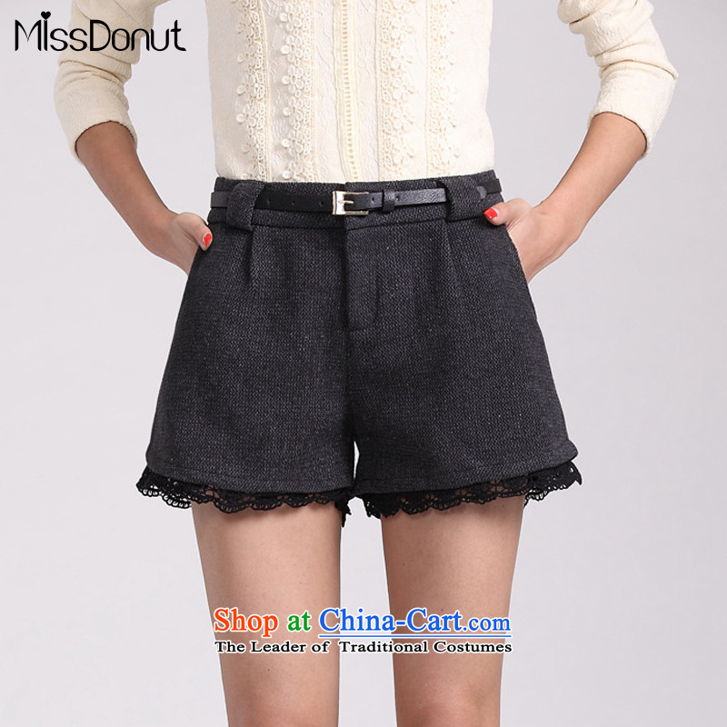 Missdonut2015 autumn and winter new Korean Version to increase women's code 200 catties gross shorts? lace stitching boots female black with gray trousers press + larger 5XL waistband
