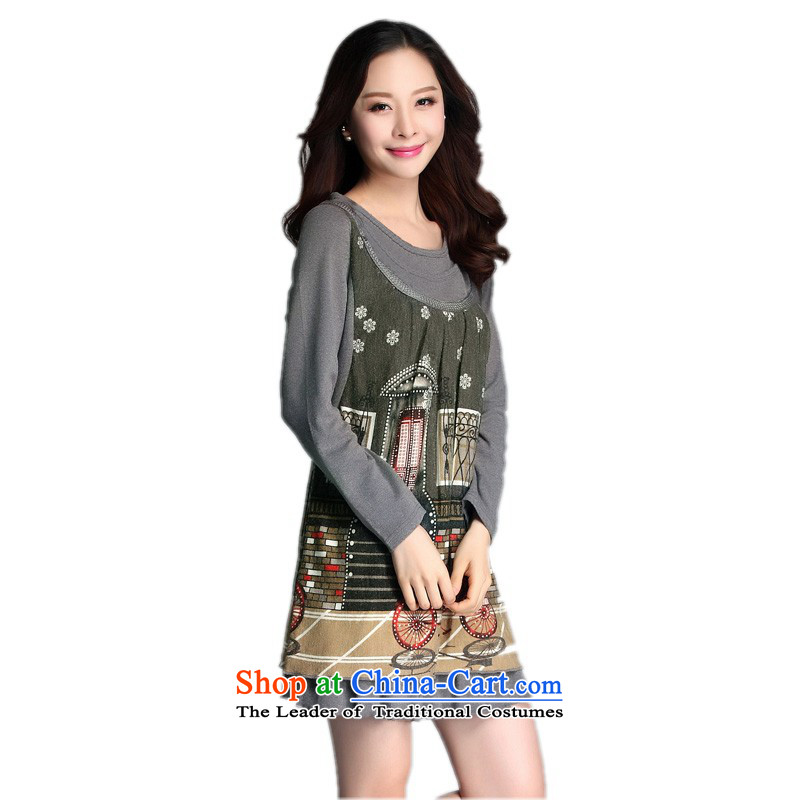 Payment on delivery to xl spring new dresses and stylish relaxd of leisure shade long-sleeved shirts and poverty mm Female dress woolen plush stamp skirt�L燼bout 150 - 160131 catty Gray