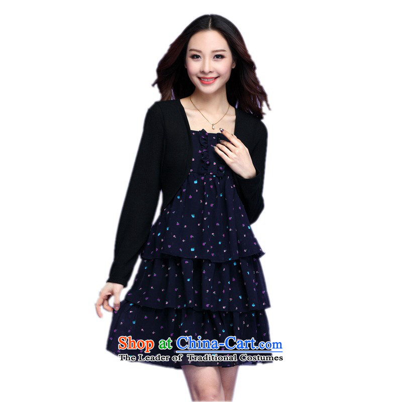 C.o.d. xl women's dresses and stylish leave two kits long-sleeved saika cake skirt chiffon shawl lady short skirts spring larger female skirt thick blue m�L燼pproximately 40-150 catty