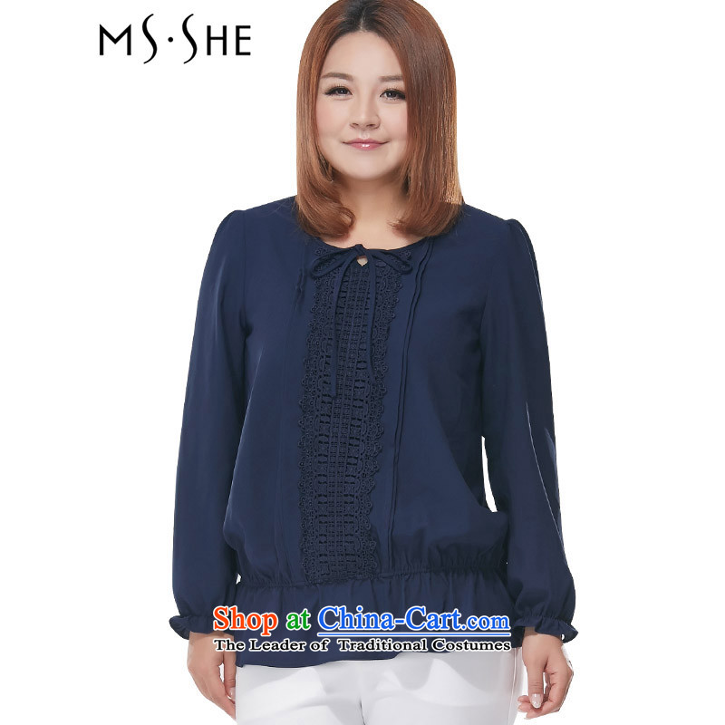 Msshe xl women 2015 new fall put lace round-neck collar long-sleeved shirt 2690 chiffon blue�L
