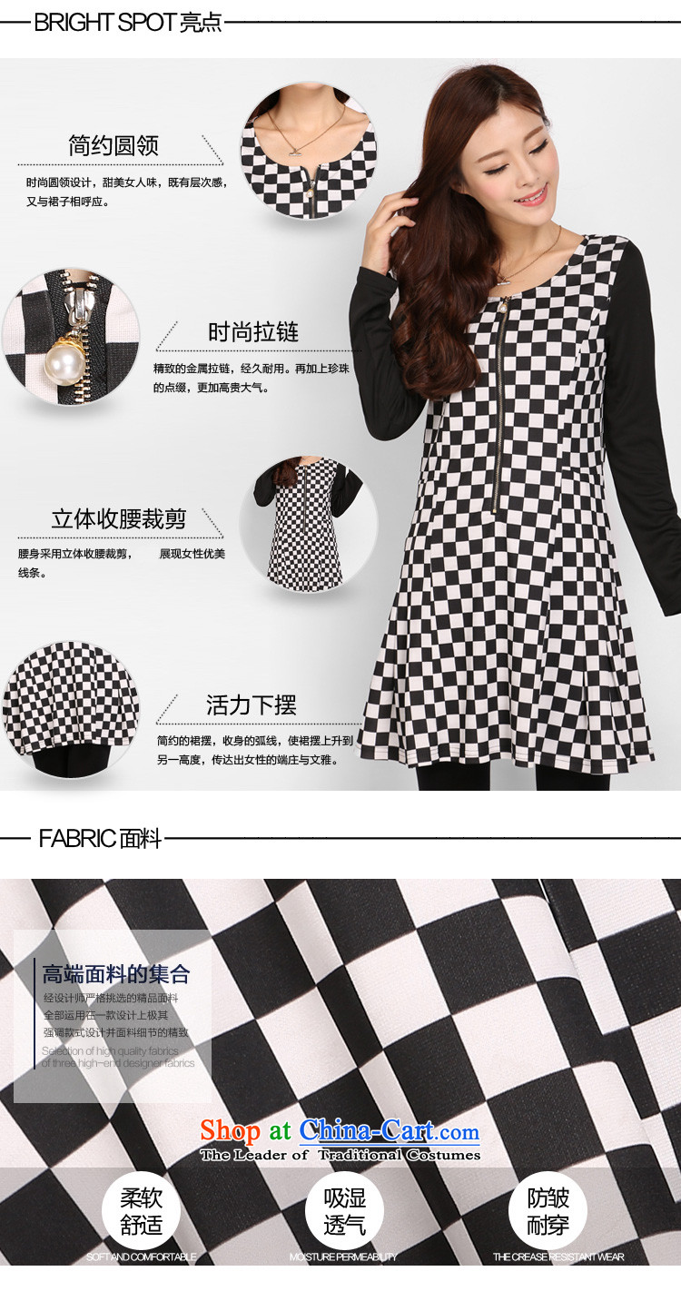 Shani Flower Spring 2015, new women's thick mm xl Korean black and white checkered chiffon video thin dresses 803.7 latticed 2XL Photo, prices, brand platters! The elections are supplied in the national character of distribution, so action, buy now enjoy more preferential! As soon as possible.