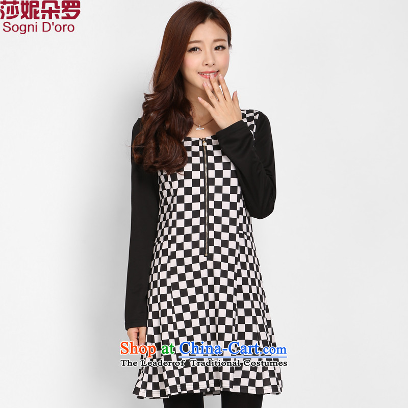 Shani Flower Spring 2015, new women's thick mm xl Korean black and white checkered chiffon video thin dresses 803.7 latticed 2XL