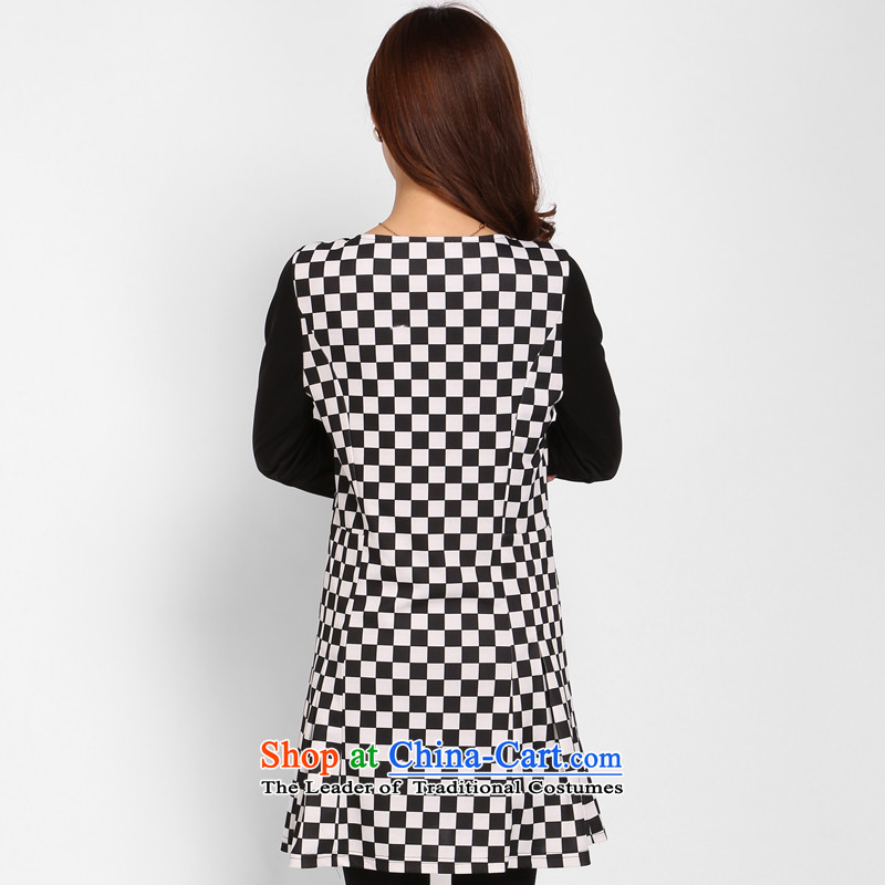 Shani Flower Spring 2015, new women's thick mm xl Korean black and white checkered chiffon video thin dresses 803.7 grid 2XL, shani flower sogni (D'oro) , , , shopping on the Internet