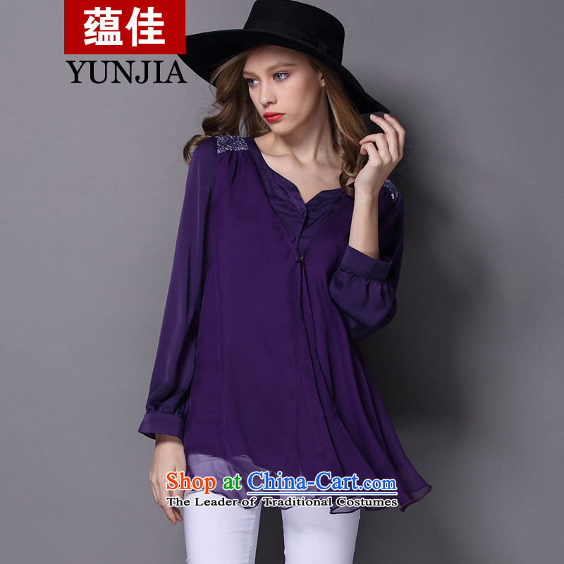 To better the chiffon shirt, long-sleeved spring 2015 new larger female Western big wind lace forming the Netherlands female deep purple spot燣爎ecommendations 110-120 catty
