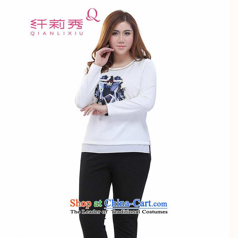 The former Yugoslavia Li Sau-Spring 2015 new larger female minimalist stamp long-sleeved Pullover shirt wild sweater, forming the Netherlands Q7300 m White XL