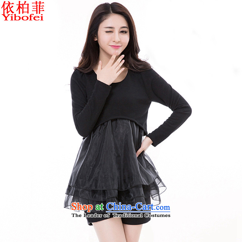 In accordance with the�15 autumn perfect new_ thick mm larger female Euro root yarn stitching knitting forming the fashionable dresses Y5003 female black�L