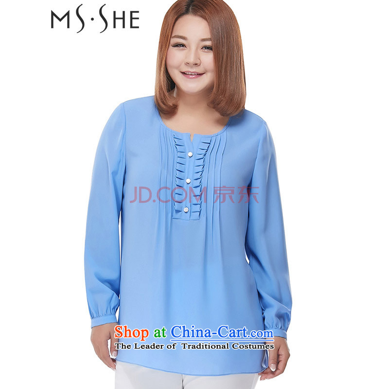 Large msshe women 2015 new fall inside the color round-neck collar wrinkled chiffon shirt thick clothes 245.5 mm shirt�L blue