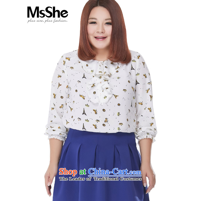 New Load autumn msshe2015 larger female stamp billowy flounces chiffon Netherlands shirt�L 2506 white long-sleeved shirt