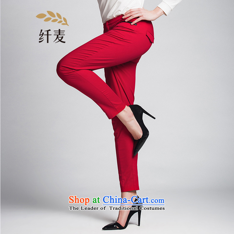 The former Yugoslavia Migdal Code women 2015 Autumn replacing the new mm thick thin solid color graphics simple casual pants red 3XL 951091717