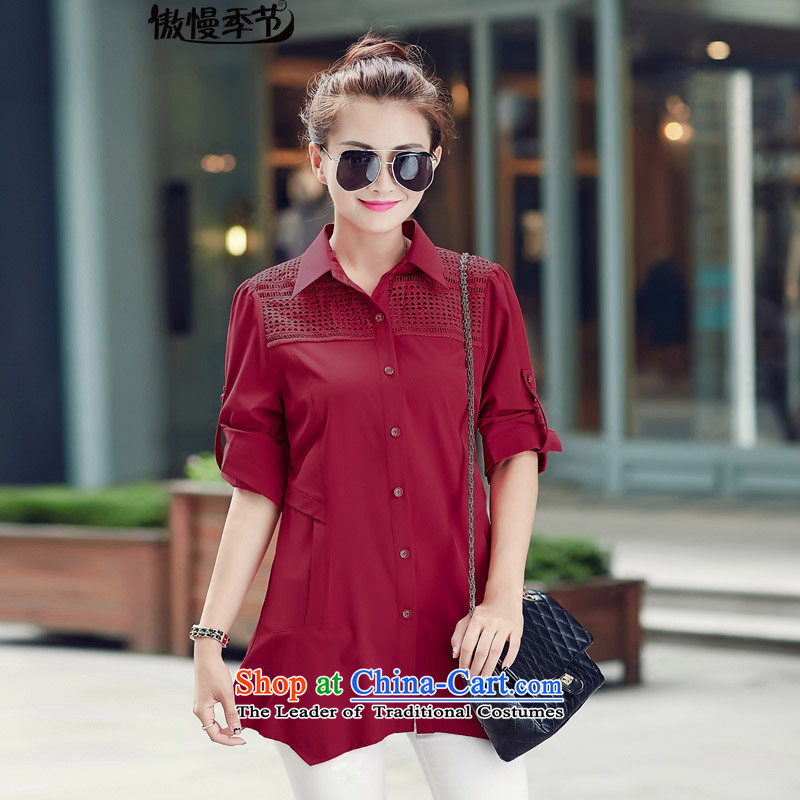 燣oad the autumn season 2015 arrogance for women in new long cotton linen shirt long-sleeved shirt large female linen clothes燲XXL wine red
