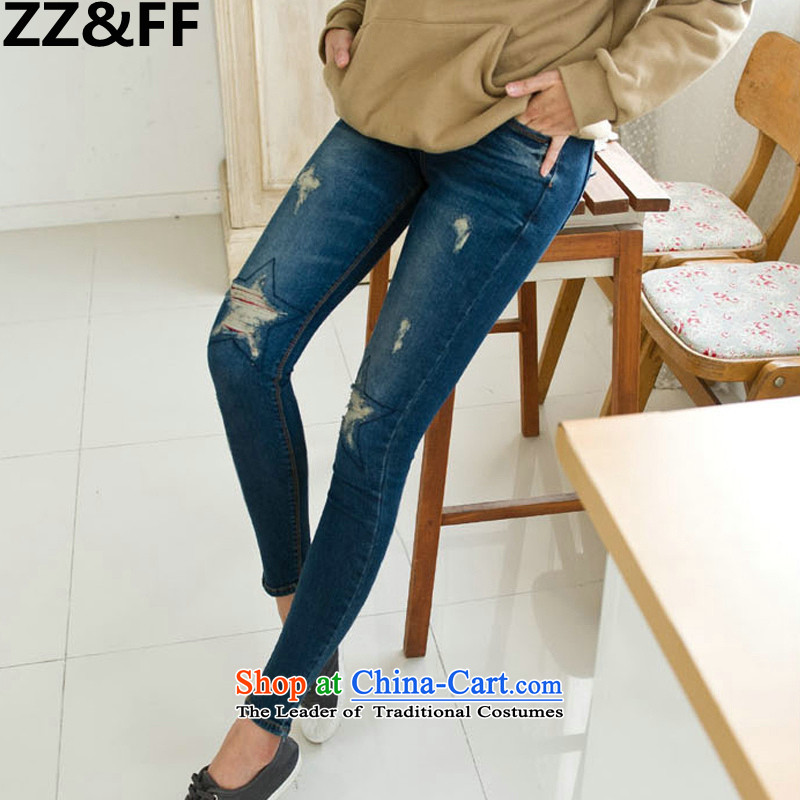 Install the latest Autumn 2015 Zz_ff Korean Version_ to increase the number of women with thick MM20 burden for leg of the hole in the jeans female picture color�