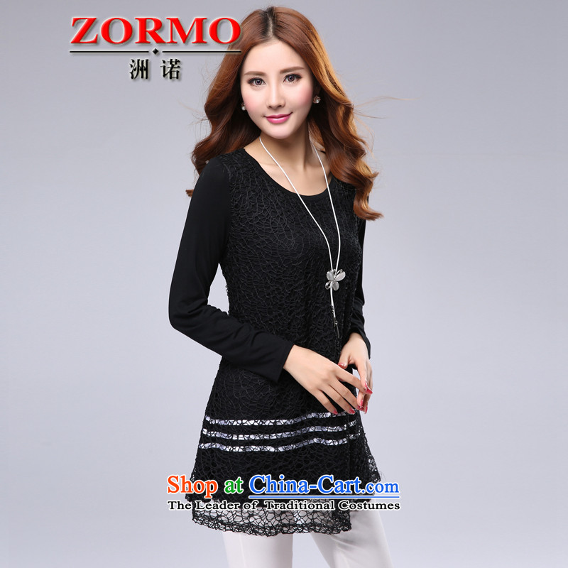 Spring 2015 new ZORMO Korean female lace stitching long-sleeved T-shirt large thick nn to intensify the spring and autumn�L black t-shirt
