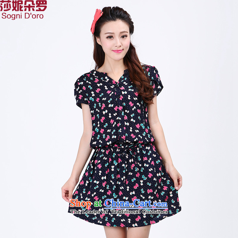 Luo Shani Flower Code women's summer to increase the stamp duty of video thin short-sleeved thick sister Summer 6773 skirt floral�L temperament LEISURE_