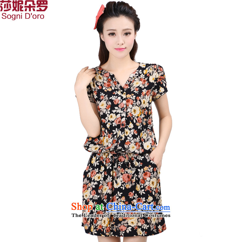 Luo Shani Flower Code women's summer sister to increase focus on people, thick mm video thin dresses 6748 floral聽6XL_ leisure graphics_ thin